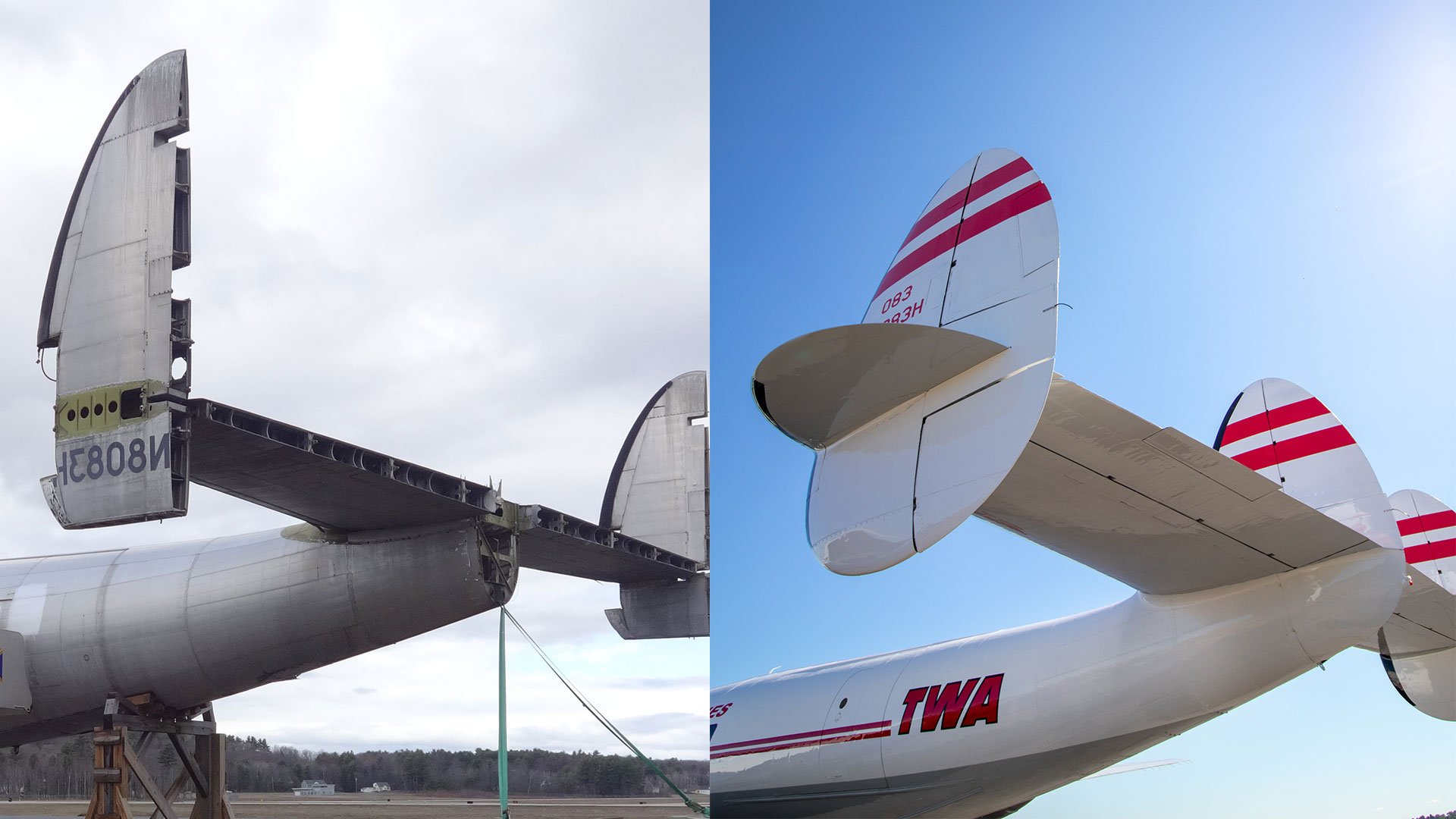 TWA_Connie_BeforeandAfter_PlaneTail