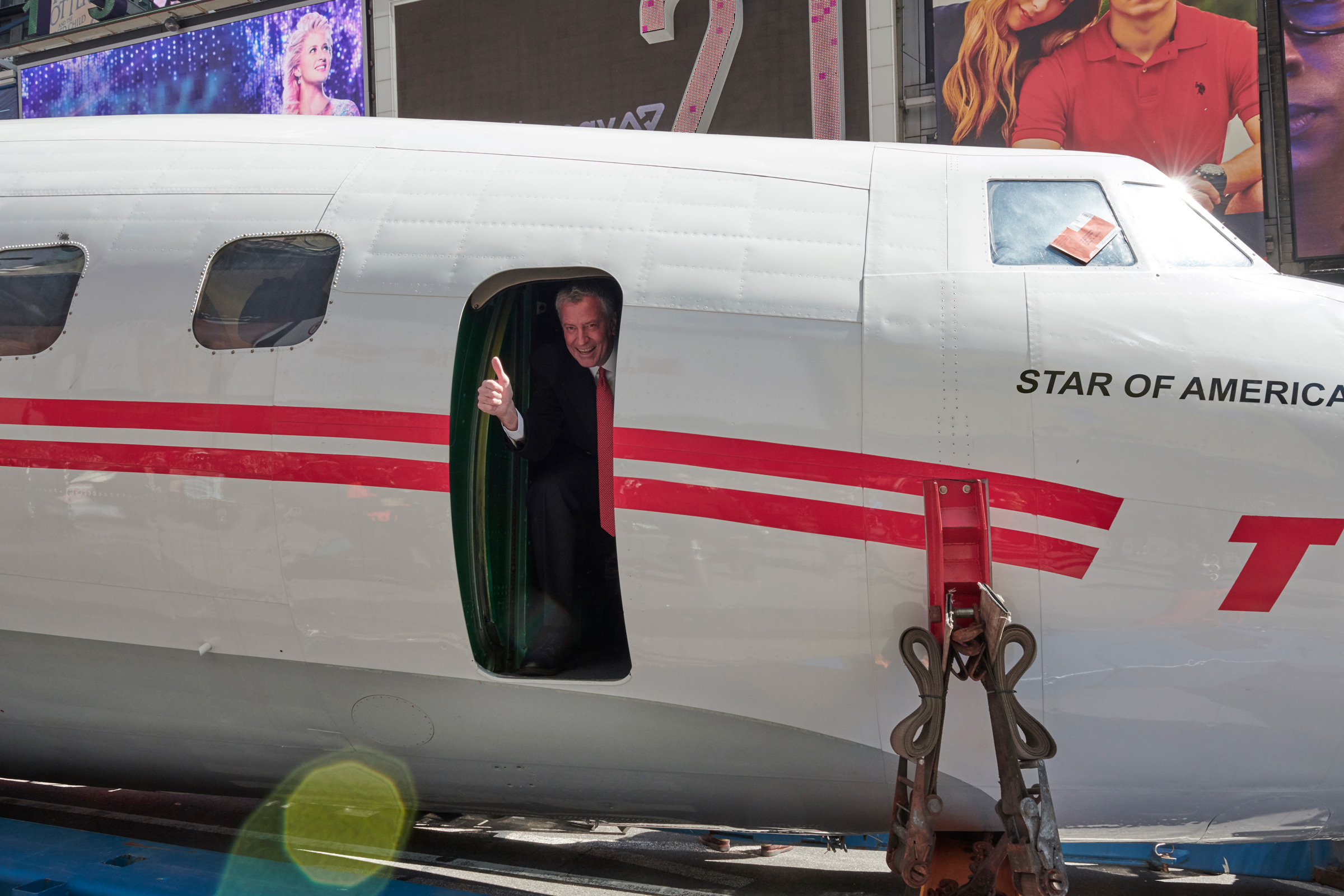 Thumbs up! New York City Mayor Bill de Blasio hops aboard Connie on March 23, 2019.