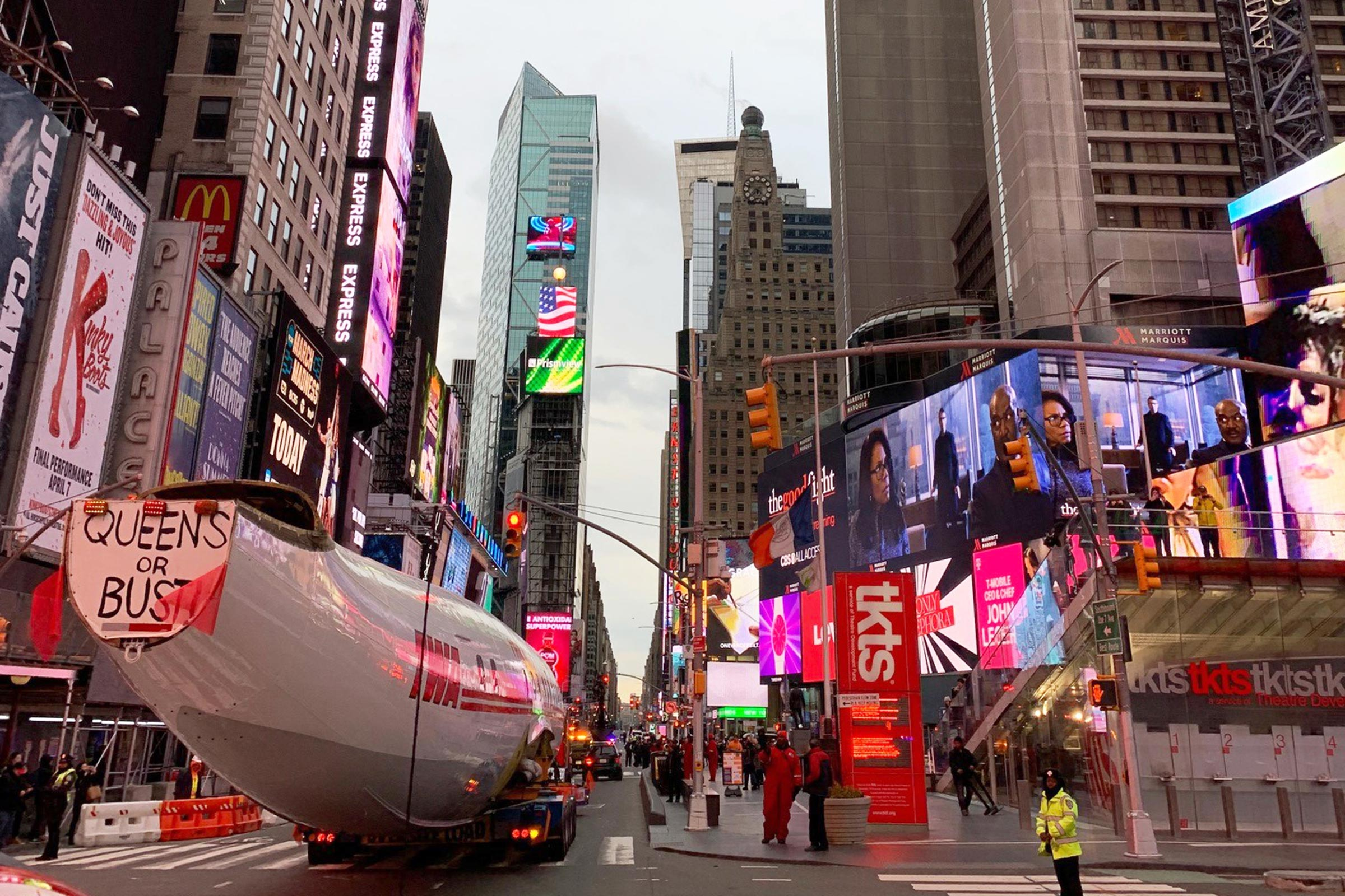 Connie's 220-foot-long billboard lit up Times Square for five minutes on March 23, 2019.