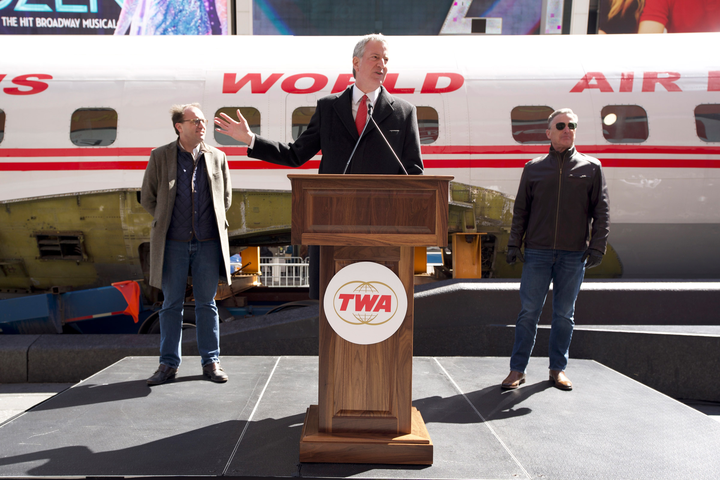 New York City Mayor Bill de Blasio (center) with CEO and Managing Partner of MCR and MORSE Development Tyler Morse (left) and New York Hotel and Motel Trades Council President Peter Ward (right) on March 23, 2019.